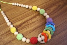 Rainbow Multicolor Nursing Necklace for Kangaroo от EcoBabyMarket, $23.95