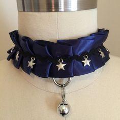 Starry Night Midnight Blue Kitten Play Collar, Cosplay Collar, Pet Play Collar by TheFlirtyKitten on Etsy