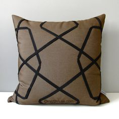 Yellow Grey Outdoor Pillow Cover, Mid Century Modern Pillow Cover, Decorative Brown Orange ...