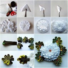 Handmade Flowers Tutorial on Modern Magazin Diy Ribbon Flowers, Kanzashi Flowers, Ribbon Art, Ribbon Crafts, Flower Crafts, Fabric Flowers, Paper Flowers, Flower Diy, Kanzashi Tutorial