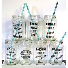 Frascos Vasos Tragos Jugos Souvenir Frases Inalterables - $ 35,00 Food Font, Ideas Para Fiestas, Mocca, Protein Bars, Just Do It, Ale, Mason Jars, Diy And Crafts, Alcohol