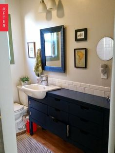 Before & After: The Neverending Story of a Bungalow Bathroom - love this sink solution
