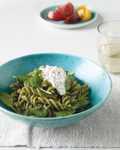 Whole-Wheat Pasta w/ Pumpkin-Seed and Spinach Pesto: Pumpkin seeds are packed w/ nutritional value & they make a great pesto, used in this recipe with a medley of parsley, chives, & baby spinach, Wholeliving.com #vegetarian