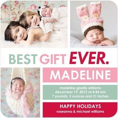 Love the picture of the siblings with the baby!  --Winter Girl Birth Announcements Best Gift Ever - Front : Princess