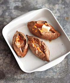 Baked Sweet Potatoes - this is by far the best way to have sweet potatoes!  The longer you roast them the sweeter they get.  I actually don't put anything on them. :)