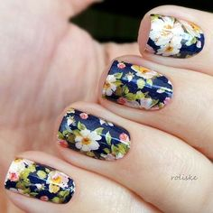 Light Floral Nails
