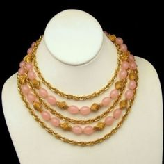 Crown Trifari Vintage Necklace 5 Multi Strand Chain Pretty Pink Beads 1960s, $149 from http://stores.ebay.com/My-Classic-Jewelry-Shop. This gorgeous pink and gold 5-strand necklace is one of my favorite Trifari pieces!