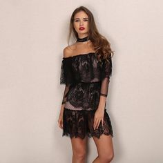 319509231e276 Black Lace Off Shoulder Mini Dress Laveliq