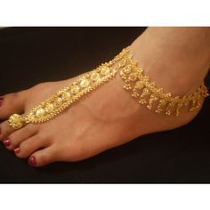2 pcs GOLDEN POLISH INDIAN ONE TOE RING SLAVE-ANKLET Indian Jewelry Earrings, Anklet Jewelry, Wedding Jewelry, Beaded Jewelry, Gold Jewelry, Feet Jewelry, Ethnic Jewelry, Gold Anklet, Silver Anklets