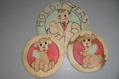 Vintage - Folk Art - Pot Holders 1940's