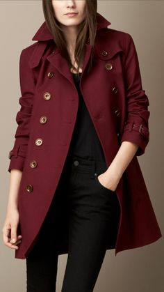 Mid-Length Cotton Poplin Trench Coat | Burberry...super pretty for a red coat...