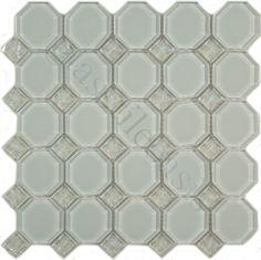 Pacific Tile Company Splash Series Octagon Ice Glossy Iridescent White