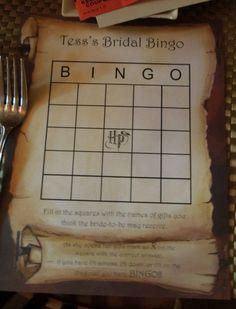 Harry Potter Bridal Shower- item bingo