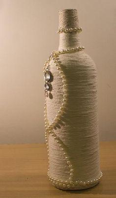 Ivory Decorative Rope Bottle - One off design