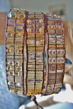 BRONZE & GOLDS Triple Wrap Beaded Leather Bracelet,Swarvoski Crystals, Czech and Japanese Glass Beads,Miyuki Tilas Bracelets of Blue Ridge