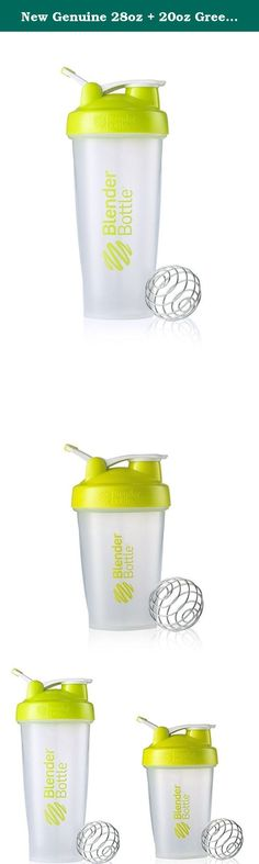 New Genuine 28oz + 20oz Green Classic Blender Bottle Sundesa BlenderBottle Fitness Water Bottle Shaker Cup For Protein Shakes and other powder supplements with stainless steel wire whisk blenderball 2-Pack. The BlenderBottle® Classic is the #1 best-selling shaker cup for a reason - it works. The patented BlenderBall® wire whisk whips around inside the bottle as you shake, mixing even the thickest ingredients with ease. Great for Protein Shakes, Nutrition Drinks, Salad Dressings, Pancake...