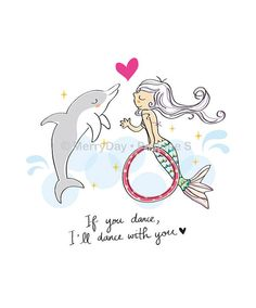 Smiley Dolphin dancing with Little Mermaid art print by MerryDay