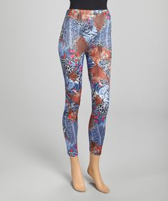 Take a look at this Blue & Brown Safari Silk-Blend Pants by Pretty Angel on #zulily today!