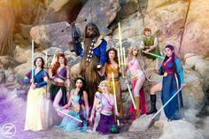 The force is strong with these princesses! Photo: @lsharma Jedi Belle/Costume Design: @elizabethrage Jedi Jasmine: Me Jedi Snow White: @amberarden Jedi Ariel: @maidofmight Jedi Aurora: @hanakima Jedi Rapunzel: @reagankathryn Jedi Peter Pan: @bboyspiderman Jedi Mulan: @riansynnth Beastbacca: @dan.young #jedi #disney #cosplay #mashup #princess #cosplayer #costume #disneyprincess #jasmine #chewbacca #lightsaber #belle #beautyandthebeast #aurora #mulan #ariel #snowwhite #rapunzel #cospla...