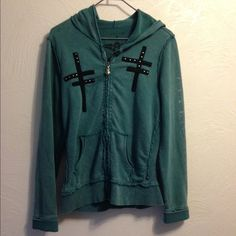 Affliction women's zip hoodie Distressed look worn but in great condition.Not true to size fits Small and Medium Affliction Sweaters
