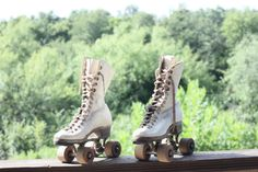 1950s White Leather Roller Skates  Women's Size 5 by GetColorCrazy, $35.00
