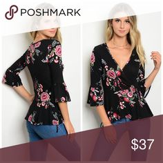 PREORDER Black floral wrap 3qtr sleeve top Pretty Surplice neckline in floral print with 3qtr Ruffle sleeves- has stretch in a soft jersey knit Tops