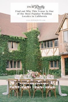 This intimate dinner setting at @kestrelpark was filled with burgundy and cream-colored blooms, incredible tabletop decor, and a Tudor-styled home highlighted by an ivy-covered wall. 😍 We're sharing more of this editorial's romantic details on SMP! 🙌🏻  LBB Photography: @spostophoto  #kestrelparkwedding #outdoorwedding #intimatewedding #californiawedding
