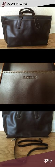 Lodis brown leather briefcase Beautiful sleek chocolate brown leather briefcase worn only twice Lodis Bags Laptop Bags