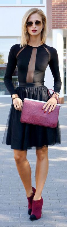 Black cut-out Sexy Top With Tulle Skirt