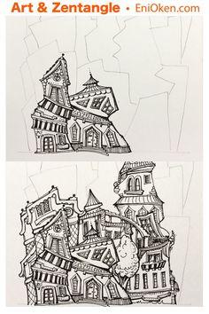Learn to draw Zen-ful little houses • enioken.com