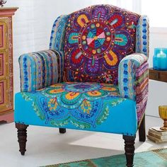 I love colorful overstuffed chairs