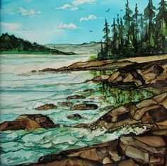 Rocky Shores by Jewel Buhay  alcohol ink on ceramic tile