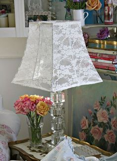 34 of the most creative diy lamps and lamp shades diy home decor the spanish dahlia lace blouse lampshade tutorial greentooth Gallery