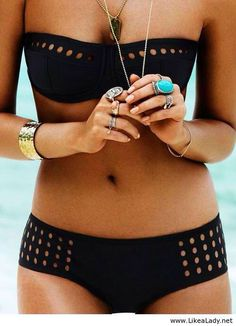 Cute swim suit, black and gold, turquoise rings