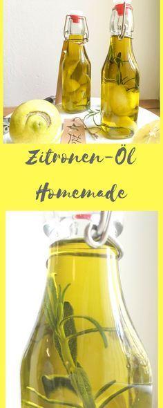 Lemon oil - Zitronen-Öl A delicious lemon oil made in 5 minutes! Lemon Oil, Party Buffet, Nutrition, Diy Presents, Diy Gifts, Kitchen Gifts, Detox Drinks, Diy Food, Raw Food Recipes