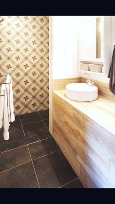Inloopdouche met retrotegels en wastafel met parketvloer  www.vl-construct.be