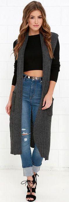 Charcoal Grey Long Sleeveless Sweater ==
