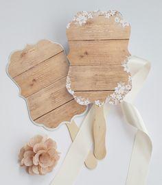 Wedding program fan ornate. Rustic wood by DesignedWithAmore
