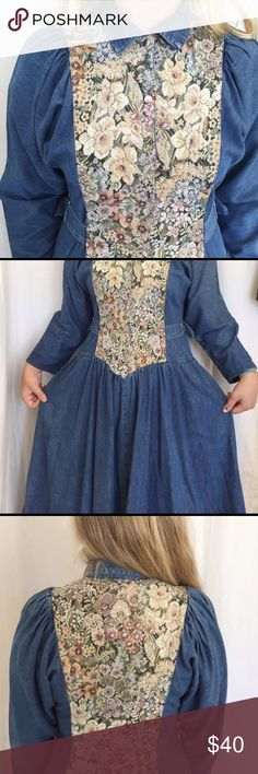 "vintage floral denim dress whimsical and quirky, this denim dress has so much life in it and needs you to make some more memories wearing it. this dress is the real deal-heavy, great quality denim and embroidered floral patterns in the front and back panels. measurements: length (47"") chest (20"") waist (15"") Vintage Dresses Midi"