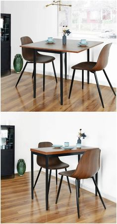 Kitchen Table With Storage, Square Kitchen Tables, Dining Table In Kitchen, Table For Small Kitchen, Kitchen Nook, Wooden Kitchen, Black Round Dining Table, Wooden Dining Tables, Small Dining