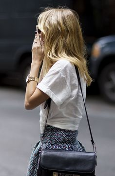 White shirt and patterned skirt