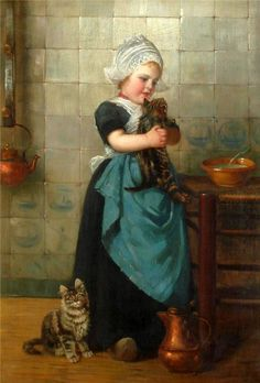 Girl with kittens by Edmond Louyot (1861 – 1920, French)