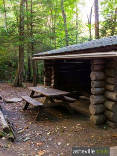 Hike the Appalachian Trail to the Roaring Fork Shelter, a log AT shelter between Max Patch and Lemon Gap in western NC