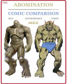 "19.5k Likes, 229 Comments - • Accurate.MCU • mcu fanpage (@accurate.mcu) on Instagram: ""• ABOMINATION- COMIC COMPARISON • So I finally did the abomination, this was a though one but you…"""