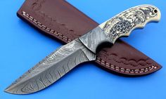 HTK -211 Damascus Knife / Hand Made / Custom / Skinner / Hunting / Camping / Camel Bone Handle / Scrimshaw Art Work / Feather Pattern