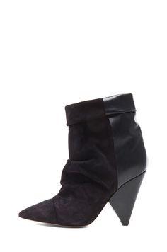Isabel Marant|Andrew Calfskin Velvet Leather Boots in Black