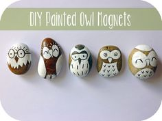 Make your own painted owl magnets with this amazing tutorial by Emily . She has painted some really cute owls on the stones, don't...