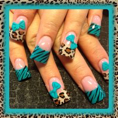 Teal And Leopard - Nail Art Gallery