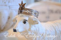 Vintage Cement Nativity Sheep Statue with Crown by edithandevelyn on Etsy