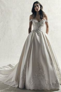 Kimora by Sottero & Midgley Wedding Dresses. Beautiful beaded satin sweetheart neckline bridal gown with full skirt. Optional cap sleeves. Collection starts at $1,200 & up. Make an appointment at Precious Memories in Boston, Ma. 781-397-1336. Wedding Dress Prices, 2015 Wedding Dresses, Princess Wedding Dresses, Designer Wedding Dresses, Bridal Dresses, Wedding Gowns, Wedding Ceremony, Lace Wedding, Sottero And Midgley Wedding Dresses